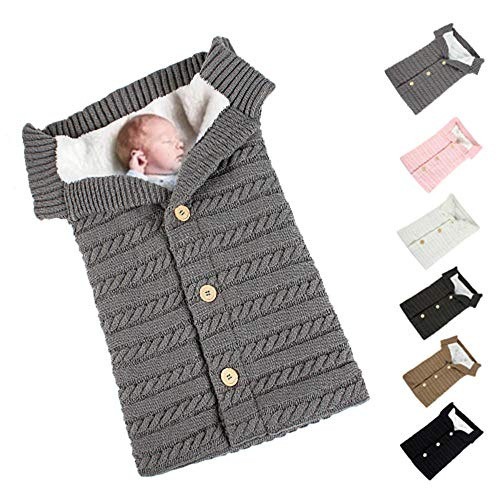 Baby Swaddle Schlafsack Kinderwagen Schlafsack Button Outdoor Kinderwagen Wool Knit Plus Velvet Verdickung Warm 0-12 Monate Babydecke Kinderwagen Schlafsack