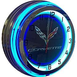 Corvette 19 Blue Double Neon Clock