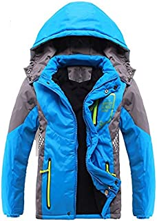 SODIAL Children Outerwear Warm Coat Sporty Kids Clothes Double-deck Waterproof Windproof Thicken Boys Girls Jackets Autumn and Winter」ィBlue 5-6T=130CM)