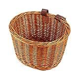 Dramir - Cesta de mimbre para bicicleta, cesta de la compra con tapa y asas