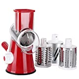 Ourokhome Vegetable Mandoline Slicer Chopper- Rotary Cheese Grater with 3 Interchangeable Ultra Sharp Cylinders Stainless Steel Blades(Red)