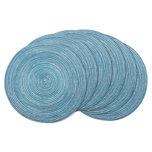 AHHFSMEI Round Placemats Set of 6 Round Braided Place mats 15 Inch Table Mats for Dining Tables Washable Heat Resistant Place mats for Party BBQ Christmas and Everyday Use (Blue Silver)