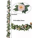 lnhomy 2 pcs 16ft artificial rose vine fake flower garland silk hanging rose lvy plants floral for wedding arch décor, (pink)