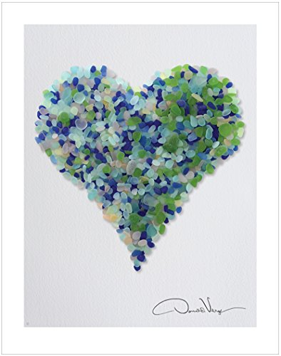LOVE - Rain Sea Glass Heart Poster Print. 11x14. Best Quality Gifts from The Sea Glass Heart Collection. Unique Birthday, Christmas, Mother