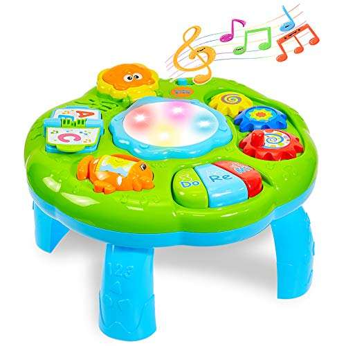 HERSITY Spieltisch Baby Lerntisch Musikalische Aktivitäten mit Beleuchtung und Sound Musikspielzeug Activity Table Baby Spielzeug Geschenk für Kinder
