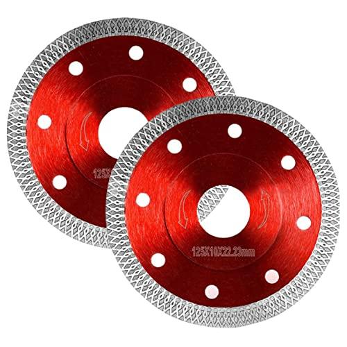 2Stk Diamanttrennscheibe 125mm für Fliesen Feinsteinzeug Super Dünn Diamantscheibe Diamantklinge 125mm x 22,23 für Winkelschleifer Fliesenschneider