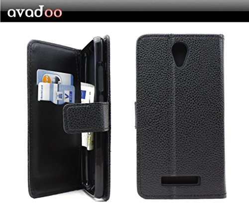 avadoo® Archos 50e Neon Flip Hülle Cover in Schwarz vernäht & mit doppelten Kartenschacht als Cover Tasche Hülle