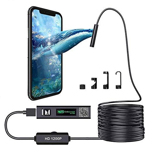 WiFi Endoskopkamera,Kabelloses Inspektionskamera WiFi Endoskop 1200P HD wasserdichte 10M Halbsteife Kabel Boreskope Schlange Kamera für Android und IOS Smartphone, iPhone, Windows