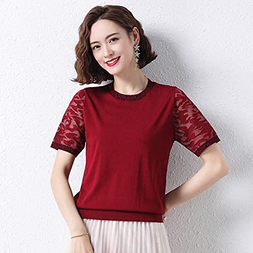 Una Camiseta De Manga Corta De Seda Helada Hueca Tamaño Medio Vino Tinto