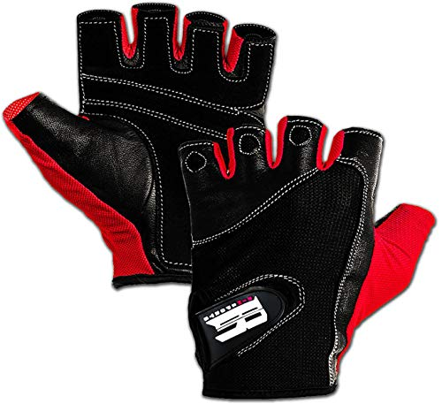 RIMSports Gym Gloves for Powerlifting,Weight Training,Biking,Cycling - Premium Quality Weights Lifting Gloves w/Washable-Gloves for Callus and Blister Protection Red M