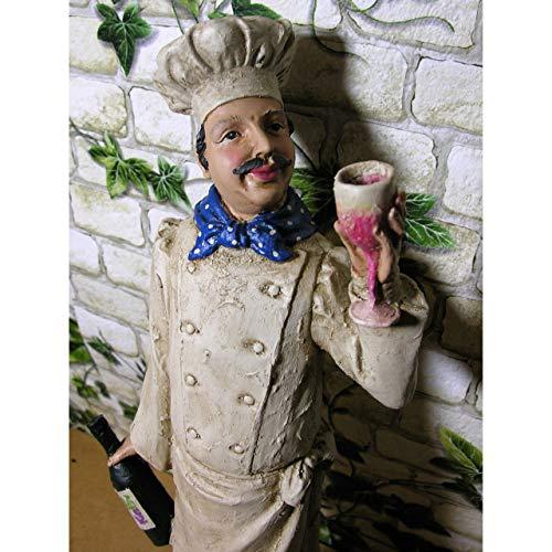 GR Statue Chefkoch 48x13x11cm mit Weinflasche Deko Figur Kochen Koch Küche Polystone