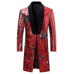 Black - Red Slim Fit Shiny Sequin Blazer