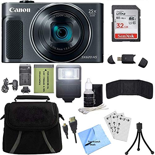 Canon PowerShot SX620 HS 20.2MP Digital Camera (Black) with 32GB Card + TopKnotch Accessory Bundle