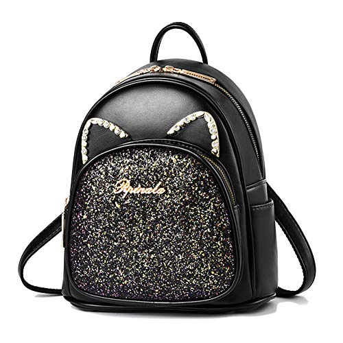 Girls Mini Backpack Sequin Cute Leather Purse Cat Ears Women Daypacks Black