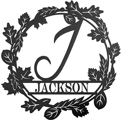 Redline Steel Personalized Wall Decor - Fall Wreaths Custom Monogram Name and Initial Sign - Letter A-Z for Front Door, Home, Outdoors (Black, Small)