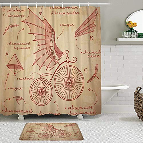 Minalo Juego de Cortinas de Ducha de 2 Piezas con Alfombra de baño Antideslizante,Diseños de bocetos de Da Vinci para Bicicletas Retro Flying Machines,12 Ganchos,Decoración de baño Personalizada