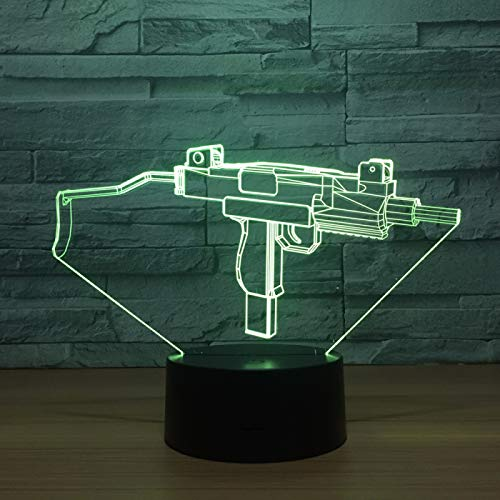 KangYD 3D Night Light Machine Gun Shape, LED Optical Illusion Lamp, E - Alarm Clock Base(7 Color), Room Lighting, Modern Decor, Kid Lamp, Gift for Friend, Colorful Change