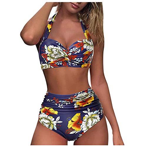 Sports Swimsuits for Women Two Piece Crop Top Bikini Set High Waisted High Cut Bathing Suits Women Casual Triangle Boyshort Swimsuits Dark Blue