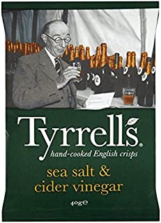 Tyrrells Sea Salt & Cider Vinegar Potato Crisps 40g - Pack of 6