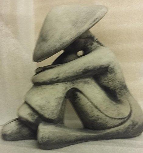 Chinese BUDDHA Reis Bauer Feng-Shui Büste Steinfigur Skulptur massiver Steinguss Farbe: grau / Patiniert, noch kein Geschenk