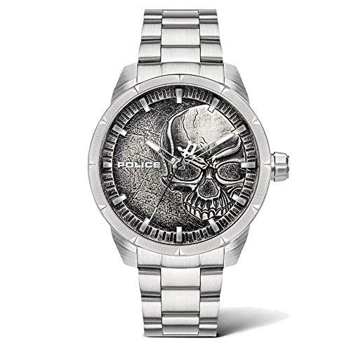 Police Unisex Erwachsene Analog Quarz Uhr mit Edelstahl Armband PL15715JS.78M