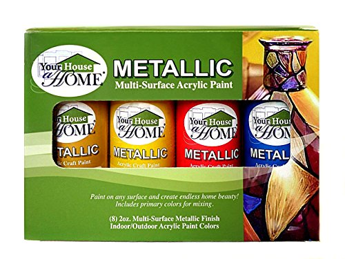 Metallic Multi-Surface Acrylic Craft Paint Set of 8, Great for Indoor/Outdoor use and Great for All Surfaces Including Paper, Canvas, Wood, Metal, Plaster, Plastic, Fabric, Glass, and Ceramics!