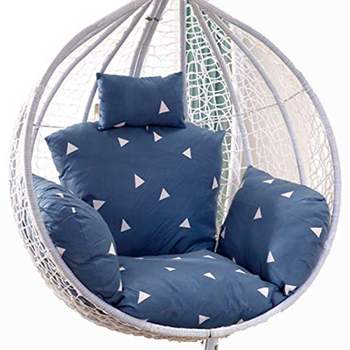 Egg Chair Cushion Only, Hanging Swing Chair Seat Cushion Replacement, Thicken Hanging Hammock Chair Cushion with Headrest and Armrests, Outdoor Garden Chair Pads Triang