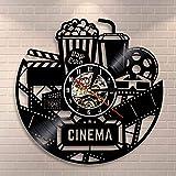 Póster de cine de palomitas de maíz, reloj de pared con registro de vinilo, reloj de cine, visualización de películas, decoración de pared, regalo para amantes de la película vintage, 12 pulgadas