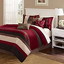 7 Piece Geometric Stripes Pattern Comforter Set Queen Size, Featuring Plush Soft Horizontal Line Stripped Design, Cozy Chic Luxury High End Premium Rich Asian Stylish Bedding, Red, Brown, Black