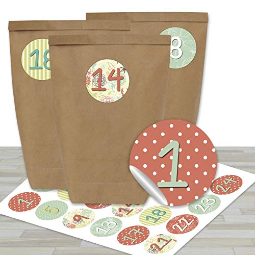 DIY Adventskalender zum Befüllen - mit 24 braunen Papiertüten und 24 dezenten Aufklebern - zum Selbermachen und Basteln - Mini Set Nr 24 - Weihnachten 2019 für Kinder