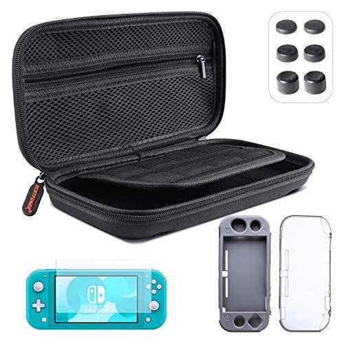 ECHTPower Tasche für Nintendo Switch Lite 5 in 1 Zubehör Set Harte Tragetasche mit 2 Schutzhülle HD Displayschutzfolie und Daumen Kappen Aufbewahrungstasche für Switch Lite