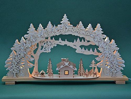 Yanka-style 10799 - Arco luminoso XL, 70 cm di larghezza, 10 luci, illuminazione interna, natura, decorazione natalizia