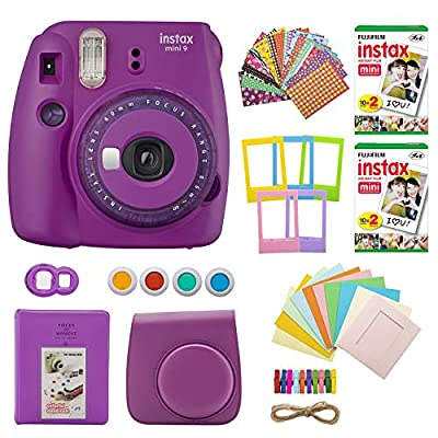 Fujifilm INSTAX Mini 9 Instant Camera with Clear Accents (Purple) with Twin Instant Film Packs (40 Shots) and 7-1 Accessory Gift Bundle (4 Items) from FUJIFILM