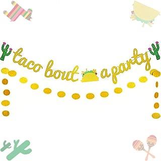 Set of 3 JeVenis Glittery Taco Bout a Party Banner Cinco De Mayo Party Decor Fiesta Party Decor for Mexico Theme Cactus Decor (Gold2)