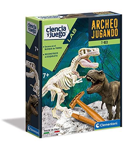 Clementoni-55032 - Arqueojugando T-Rex fosforescente - juego cientfico para excavar y montar dinosaurios a partir de 7 aos
