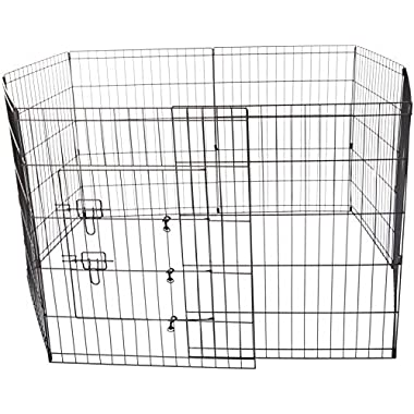 OxGord Metal Wire 8-Panel Folding Exercise Yard Fence for Pets, 30 Inch, Black