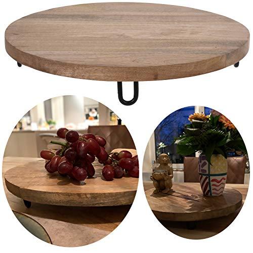LS-LebenStil XL Servier-Tablett Mango-Holz Rund Baumscheibe Schneidbrett Vesper Küchen-Brett