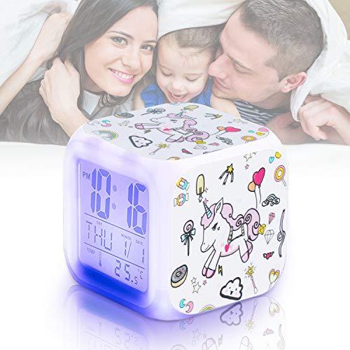 Qaxlry Unicorn Alarm Clock,7-in-1 Night Light Kids Alarm Clocks with LED Glowing Bedroom Wake Up Alarm Clock Gifts for Unicorn Room Decor for Girls Bedroom (White)