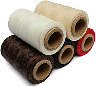 Yalulu 5Pcs Durable 50 Meter 1mm 150D Leather Waxed Thread Cotton Cord String for DIY Handicraft Tool Hand Stitching Thread