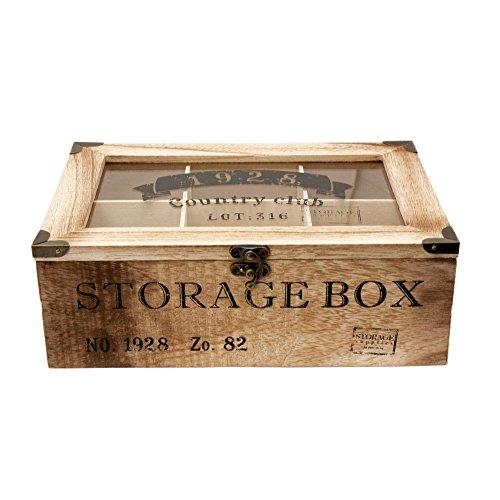 ToCi–Caja para té de madera en estilo rústico con 6o 9compartimentos...