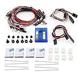 ForceSthrength Plug & Play Super Bright Sistema de 12 lámparas de iluminación LED para Control Remoto RC, Negro y Rojo
