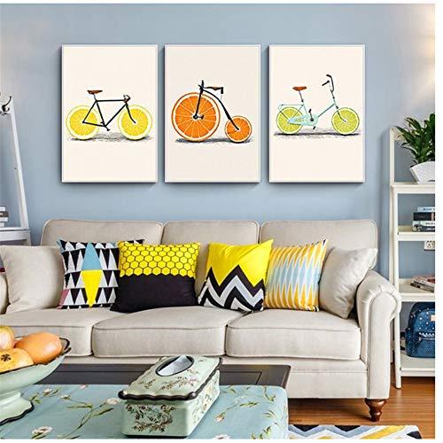 Canvas schilderijen met citroen fruit, fiets, abstracte mode, oranje, keuken decor, Scandinavische posters, kunst aan de muur afbeeldingen 20 x 30 cm * 3 geen frame