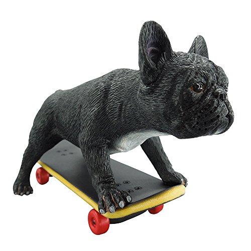 Artgenius Skateboard Bulldog Figurine,Collectible French Bulldog Sculpture Sliding (Black)