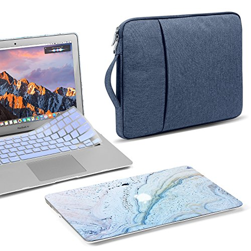 GMYLE MacBook Air 13 Inch Case A1466 A1369 Old Version 2010 2017, Handle Carrying Sleeve Bag, Keyboard Cover 3 in 1 Set (Blue Marble Stone & Navy)