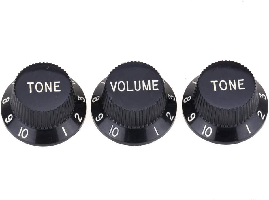 Musiclily Pro Imperial Pulgadas Tamaño Botones de Potenciómetros 2 Tono 1 Volumen Perillas Set para Guitarra Eléctrica USA Strat Style, Negro