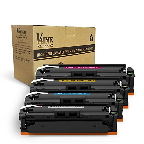 V4INK New Compatible for HP 410A CF410A 410X CF410X Toner Cartridge for HP Color Laserjet Pro MFP M477fdw M477fnw M477fdn M452dw M452dn M452nw M477 M452 Printer (Black,Cyan,Yellow,Magenta) (4Pack)