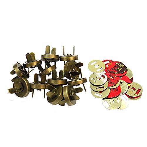 12 Fermaglio Magnetico Chiusura Metallo Tono Bronzo per Cucito DIY Fai da Te