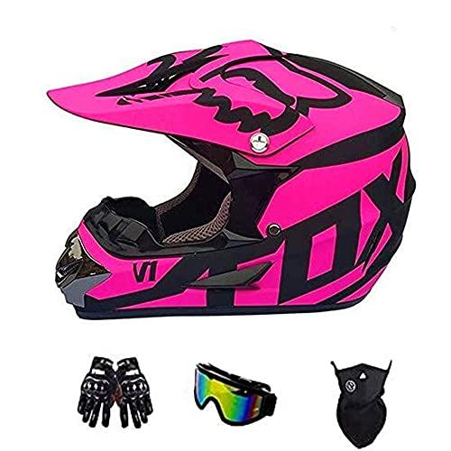 YEKZDD Casco De Motocross con Gafas MáScara Guantes, Casco De Moto Todoterreno para NiñOs para Casco De Motocross Casco De Descenso Motocicleta Todoterreno De Casco Integral con DiseñO Fox