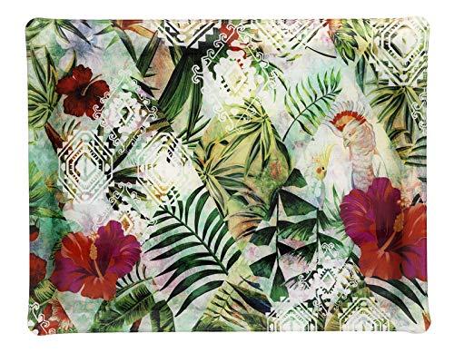 PLATEX 4046361173 Plateau Acrylique-Hibiscus, Vert_Noir-Blanc-Rouge, 46x36cm