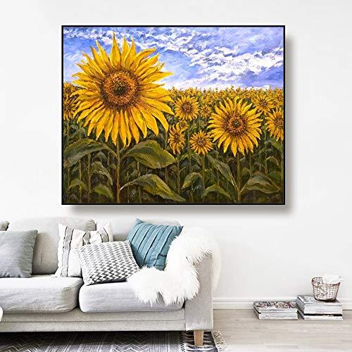 ganlanshu Kunstöl Leinwand Sonnenblumenfeld Landschaft Kunst Bild Poster Moderne Wohnkultur Wohnzimmer,Rahmenlose Malerei,60x75cm